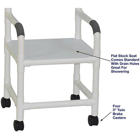 MJM International: Shower Chair with Flat Stock Seat - 118-3-F - Parts Overview