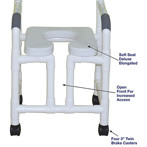 MJM International: Shower Chair with Open Front and Soft Seat Deluxe Elongated - 118-3-OF-SSDE - Parts Overview