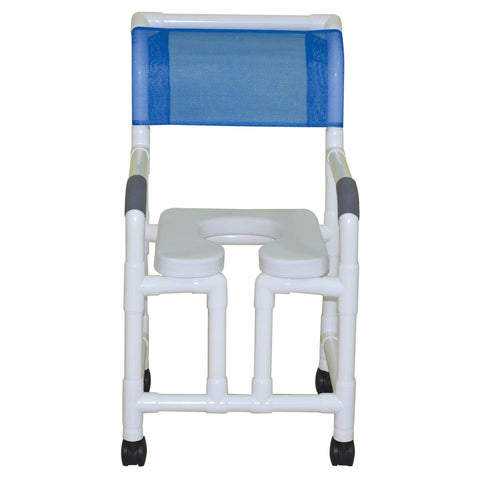 MJM International: Shower Chair with Open Front and Soft Seat Deluxe Elongated - 118-3-OF-SSDE - Actual Image
