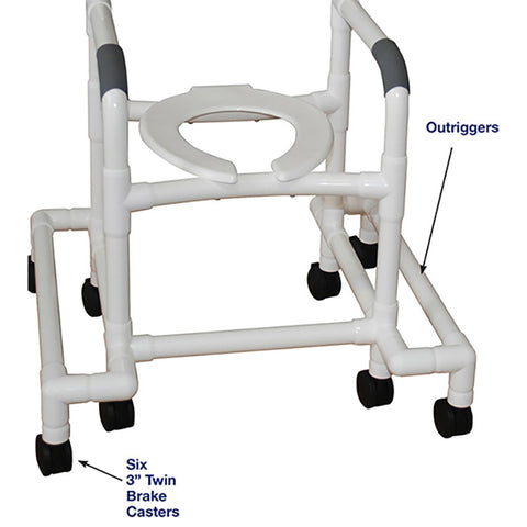 "MJM International: Shower Chair with Outriggers ""Outriggers Provide Maximum Stability"" - 118-3-SAFE - Parts Overview"