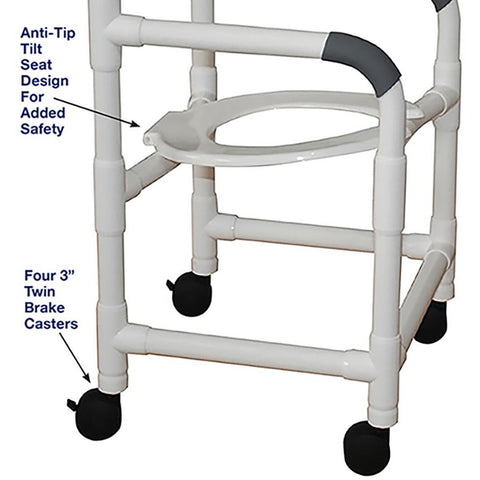 MJM International: Shower Chair with Tilt Seat - 118-3-TS - Parts Overview