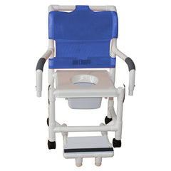 MJM International: Shower Chair with Vacuum Seat, Sliding Footrest Support and Dual Swing Away Armrests and Square Pail - 118-3-VS-SFS-DDA-SQ-PAIL - Full Picture