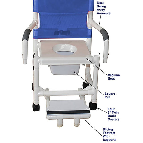 MJM International: Shower Chair with Vacuum Seat, Sliding Footrest Support and Dual Swing Away Armrests and Square Pail - 118-3-VS-SFS-DDA-SQ-PAIL - Parts Overview