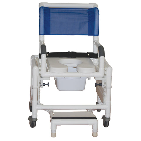 "MJM International: Adjustable Shower Commode Chair Ideal for Adults Seat Height Adjust from 16"" - 25"" fits Patients 5' - 6'3"" - RIO 118-3TL-SFS-SQ-PAIL-SSDE-SADJ-BB-18 - Actual Image"