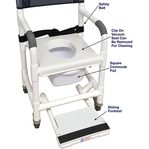 MJM International: Universal Shower Chair - 118-3TL-VS-BB-18-SQ-PAIL-SF - Parts Overview
