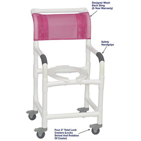 MJM International: Superior Shower Chair with Total Lock Casters - 118-3TL - Parts Overview