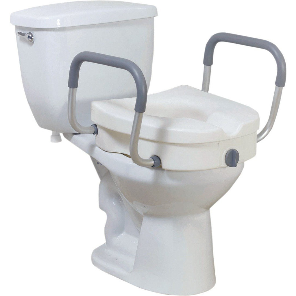Drive Medical: Premium Plastic, Raised, Elongated Toilet Seat with Lock - 12013 - Actual Image