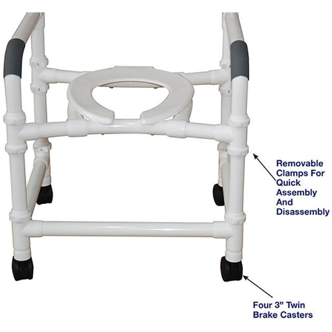 MJM International: Superior Knockdown Mid Size Shower Chair - 122-3-KD - Parts Overivew