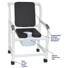 Image of MJM International: Mid Size Shower Chair with Soft Seat Deluxe Elongated and Square Pail - 122-3-SSDE-CBP-SQ-PAIL-BLK - Parts Overview