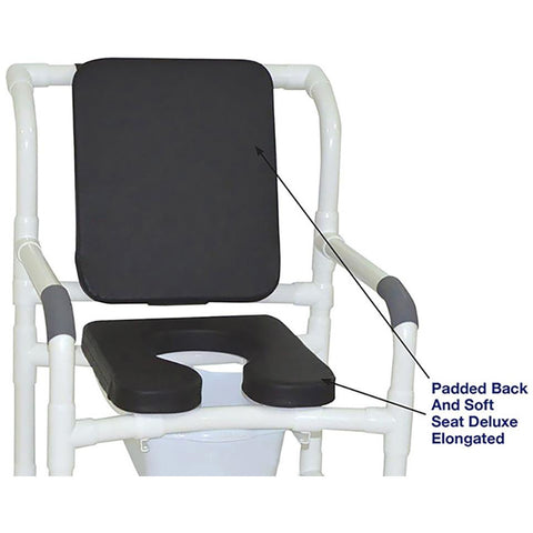 MJM International: Mid Size Shower Chair with Soft Seat Deluxe Elongated and Square Pail - 122-3-SSDE-CBP-SQ-PAIL-BLK - Parts Overview