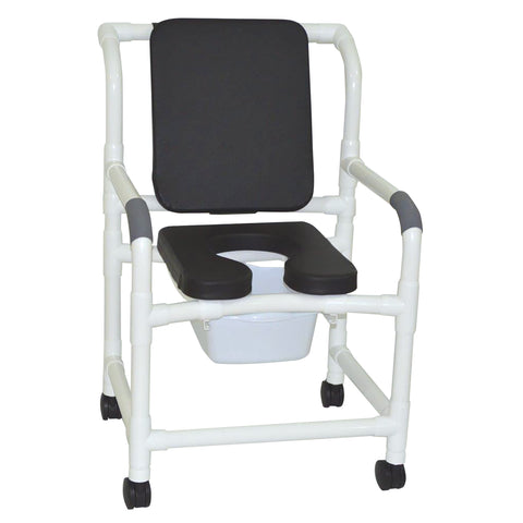 MJM International: Mid Size Shower Chair with Soft Seat Deluxe Elongated and Square Pail - 122-3-SSDE-CBP-SQ-PAIL-BLK - Actual Image