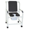 Image of MJM International: Mid Size Shower Chair with Soft Seat Deluxe Elongated and Square Pail - 122-3-SSDE-CBP-SQ-PAIL-BLK - Actual Image