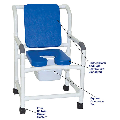 MJM International: Mid Size Shower Chair with Soft Seat Deluxe Elongated and Square Pail - 122-3-SSDE-CBP-SQ-PAIL-BL - Parts Overview