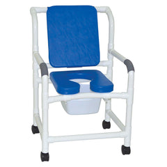 MJM International: Mid Size Shower Chair with Soft Seat Deluxe Elongated and Square Pail - 122-3-SSDE-CBP-SQ-PAIL-BL - Actual Image
