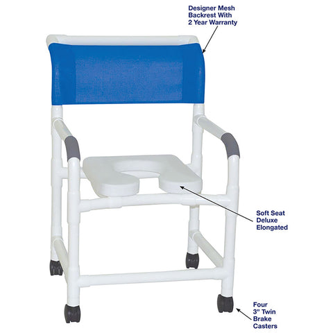 MJM International: Mid Size Shower Chair with Soft Seat Deluxe Elongated and Designer Backrest - 122-3-SSDE-DM - Parts Overview