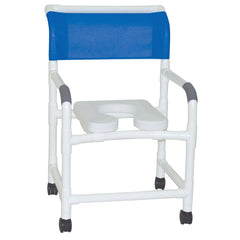 MJM International: Mid Size Shower Chair with Soft Seat Deluxe Elongated and Designer Backrest - 122-3-SSDE-DM - Actual Image