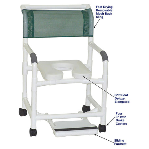 MJM International: Mid Size Shower Chair with Soft Seat Deluxe Elongated and Sliding Footrest - 122-3-SSDE-SF - Parts Overview