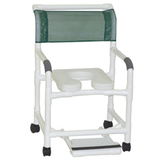 MJM International: Mid Size Shower Chair with Soft Seat Deluxe Elongated and Sliding Footrest - 122-3-SSDE-SF - Actual Image