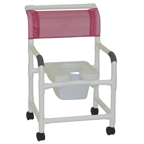 MJM International: Mid Size Shower Chair with Soft Seat Deluxe Elongated and Square Pail - 122-3-SSDE-SQ-PAIL - Actual Image