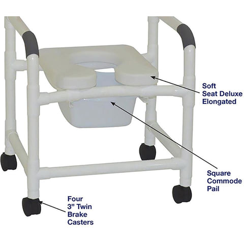 MJM International: Mid Size Shower Chair with Soft Seat Deluxe Elongated and Square Pail - 122-3-SSDE-SQ-PAIL - Parts Overview