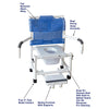MJM International: Mid Size Shower Chair with Vacuum Seat, Sliding Footrest and Dual Swing Away Armrests - 122-3-VS-SFS-DDA-SQ-PAIL - Parts Overview