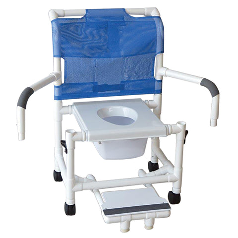 MJM International: Mid Size Shower Chair with Vacuum Seat, Sliding Footrest and Dual Swing Away Armrests - 122-3-VS-SFS-DDA-SQ-PAIL - Actual Image