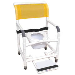 MJM International: Superior Mid Size Shower Chair with Buckle Belt, Sliding Footrest, Square Pail and Total Lock Casters - 122-3TL-BB-22-SQ-PAIL-SF - Actual Image