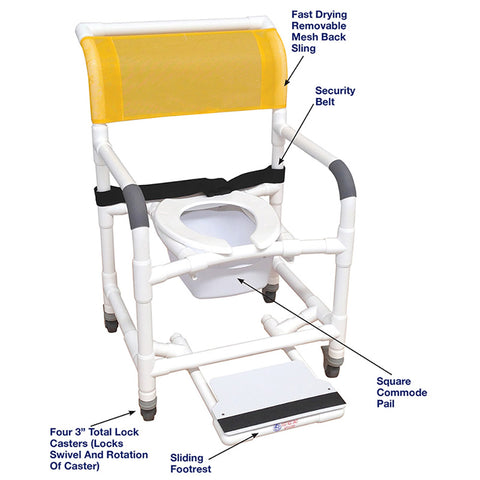 MJM International: Superior Mid Size Shower Chair with Buckle Belt, Sliding Footrest, Square Pail and Total Lock Casters - 122-3TL-BB-22-SQ-PAIL-SF - Parts Overview