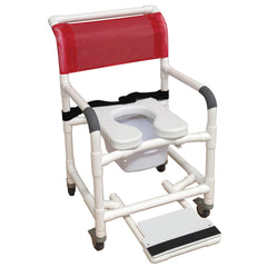 MJM International: Superior Mid Size Shower Chair with Soft Seat Deluxe Elongated, Sliding Footrest, Square Pail and Total Lock Casters - 122-3TL-SSDE-BB-22-SQ-PAIL-SF - Actual Image