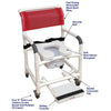 Image of MJM International: Superior Mid Size Shower Chair with Soft Seat Deluxe Elongated, Sliding Footrest, Square Pail and Total Lock Casters - 122-3TL-SSDE-BB-22-SQ-PAIL-SF - Parts Overview