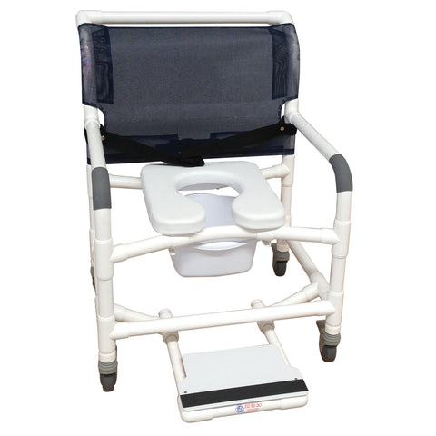MJM International: Wide Shower Chair With Total Lock Caster Soft Seat Deluxe Elongated, Safety Belt and Total Lock Casters - 126-3TL-NB-SSDE-BB-26-SF - Front View