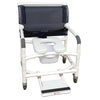 Image of MJM International: Wide Shower Chair With Total Lock Caster Soft Seat Deluxe Elongated, Safety Belt and Total Lock Casters - 126-3TL-NB-SSDE-BB-26-SF - Front View