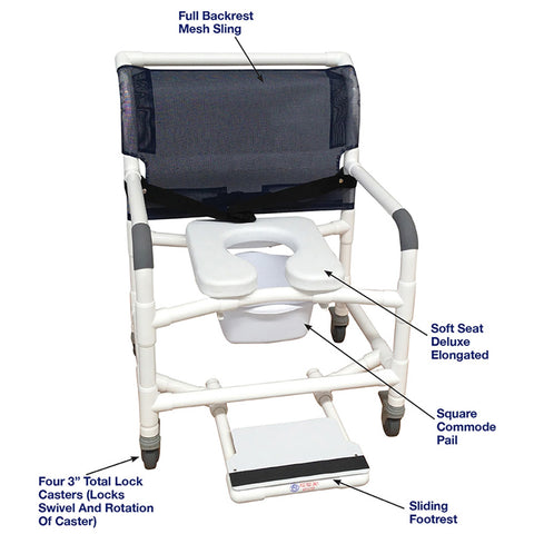 MJM International: Wide Shower Chair With Total Lock Caster Soft Seat Deluxe Elongated, Safety Belt and Total Lock Casters - 126-3TL-NB-SSDE-BB-26-SF - Actual Image