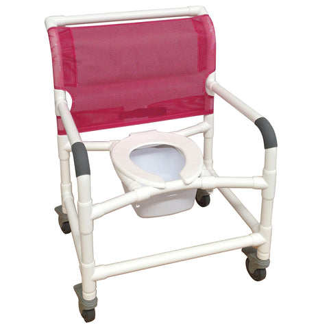MJM International: Wide  Shower Chair With Total Lock Casters - 126-3TL-NB - Front View