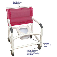 MJM International: Wide  Shower Chair With Total Lock Casters - 126-3TL-NB - Actual Image