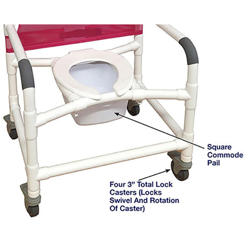 MJM International: Wide  Shower Chair With Total Lock Casters - 126-3TL-NB - Parts Overview
