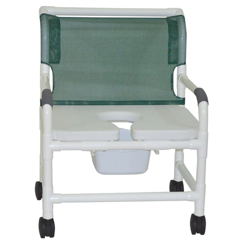 MJM International: Wide Shower Chair With Full Support Soft Seat and Square Pail - 126-4-NB-FSSS - Front View
