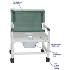 MJM International: Wide Shower Chair With Full Support Soft Seat and Square Pail - 126-4-NB-FSSS - Actual Image