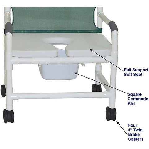 MJM International: Wide Shower Chair With Full Support Soft Seat and Square Pail - 126-4-NB-FSSS - Name of Parts
