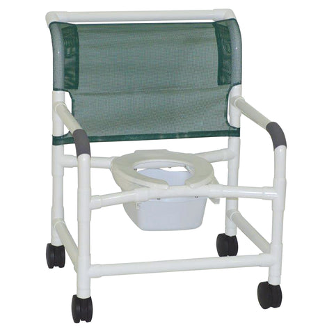 MJM International: Wide Shower Chair With Square Pail - 126-4-NB - Front Image