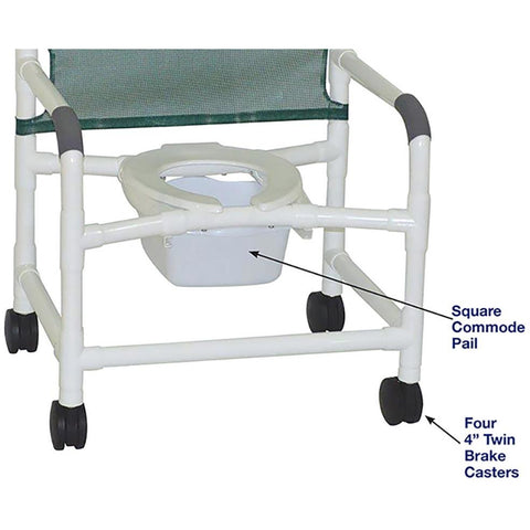 MJM International: Wide Shower Chair With Square Pail - 126-4-NB - Name of Parts