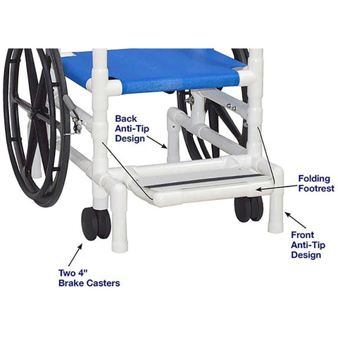 MJM International: Multi-Purpose Chair (Will Serve as A Shower Chair, Transferchair and Pool Access) - 130-18-24W-SL - Parts Overview