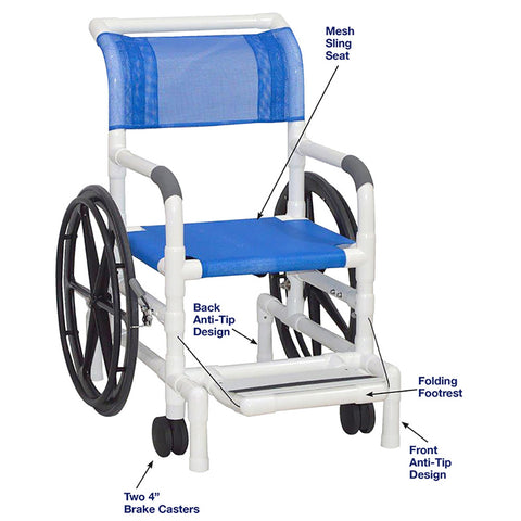 MJM International: Multi-Purpose Chair (Will Serve as A Shower Chair, Transferchair and Pool Access) - 130-18-24W-SL - Actual Image