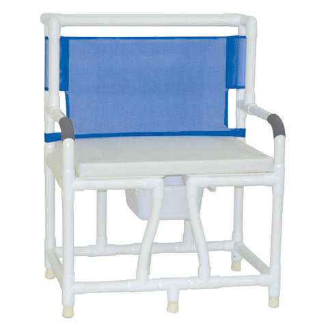 MJM International: Bariatric Bedside Commode With Cushion Seat - 130-C10-W-BCS - Front View