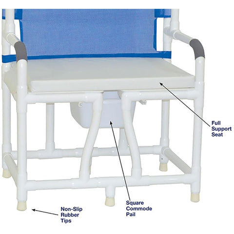 MJM International: Bariatric Bedside Commode With Cushion Seat - 130-C10-W-BCS - Name of Parts