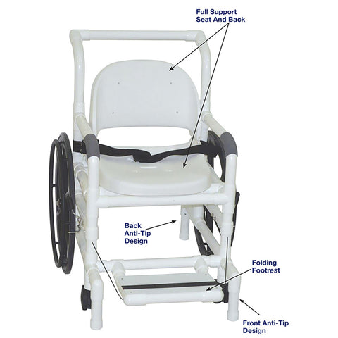 MJM International: Multi-Purpose Chair (Shower Chair, Transferchair and Pool Access) - 131-18-24W-FS - Actual Image