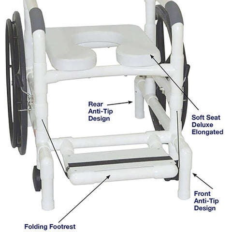 MJM International: Multi-Purpose Chair (Shower Chair, Transferchair) - 131-18-24W - Parts Overview