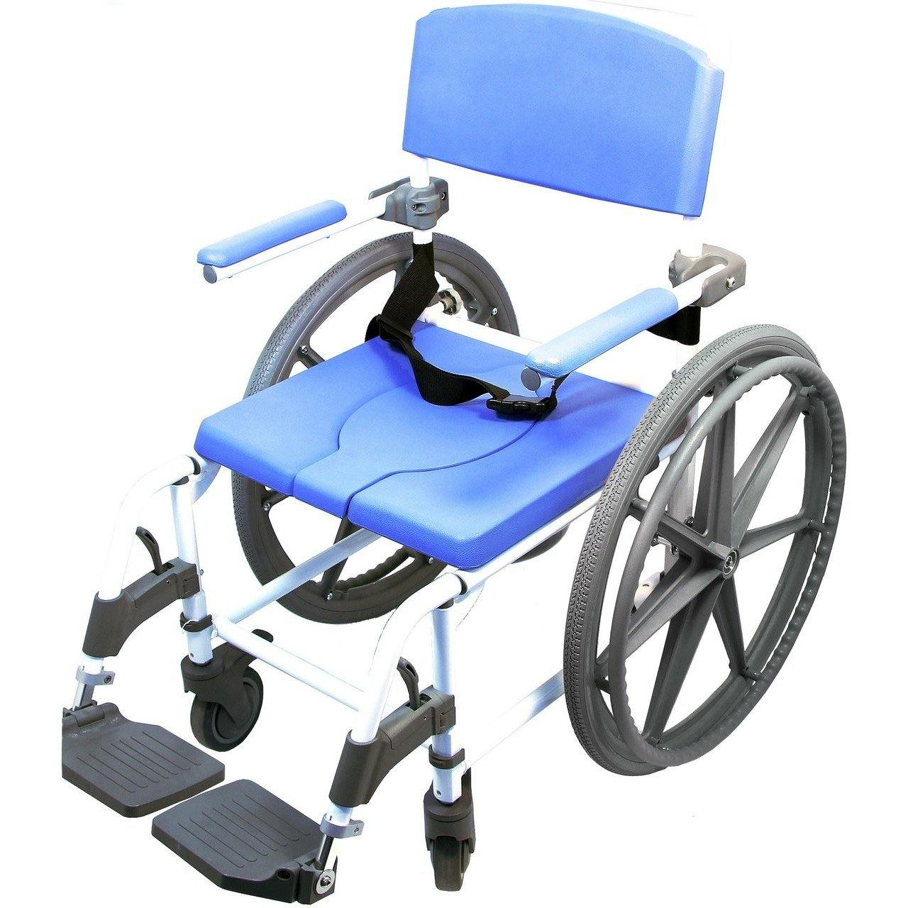 Healthline Medical Aluminum Shower Commode Chair With 24 Wheels