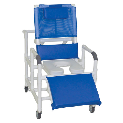 MJM International: Bariatric Reclining Shower Chair With Soft Seat Deluxe Elongated - 193-24-SSDE - Front View