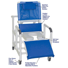 MJM International: Bariatric Reclining Shower Chair With Soft Seat Deluxe Elongated - 193-24-SSDE - Actual Image